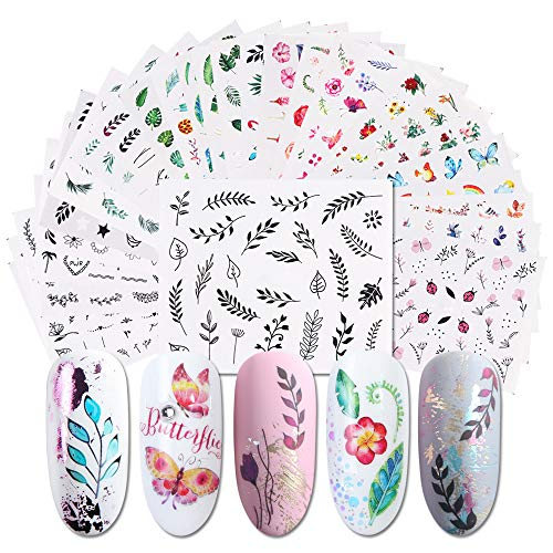 iFancer Nail Stickers Water Transfer Nail Art Decals for Women Girl Fingernail Toenail Tattoo Decoration Nature Plants Leaf Car Rainbow Sailboat Pattern Nail Art Supplies (Fresh Plants ()
