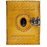 Tnw Handcrafted Leather Diary Single Stone Journal Notebook With A Metal Lock & Handmade Paper