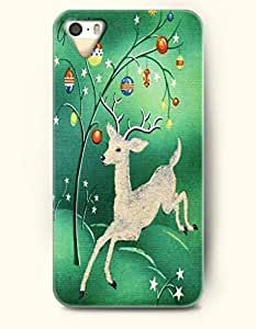Merry Chirstmas White Deer In Green Background - OOFIT iPhone 4 4s Case