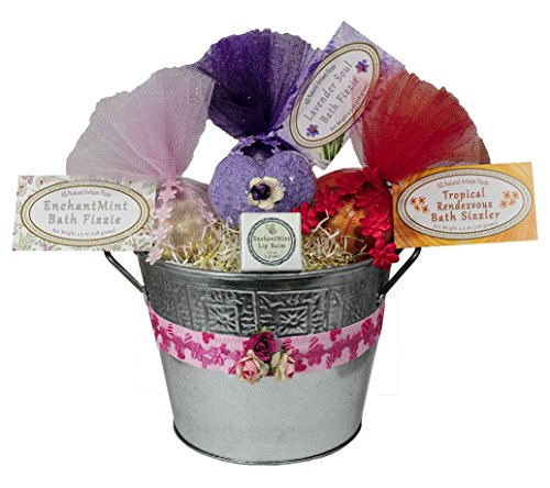 Valentine's Day Jumbo Bath Bomb Gift Set w/ Bonus Konjac Sponge & Lip Balm. 3 Unique Handmade Moisturizing Bath Fizzies in Tin Flower Pot – Beautifully Gift Wrapped!