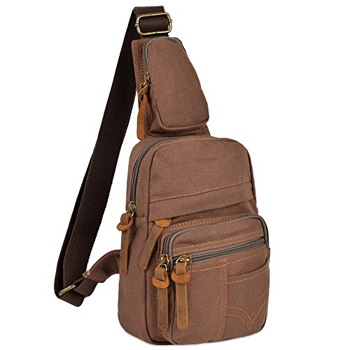 Vbiger Sling Shoulder Backpacks Outdoor Chest Pack Sports Canvas Shoulder Bag Fashionable Crossbody Bag Chest Bag for Cycling Walking Hiking for Men and Women (Coffee) by VBIGER
