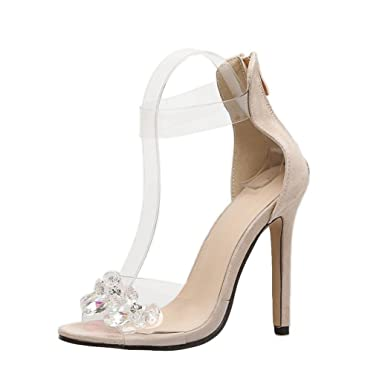 bea6185f89 Amazon.com: DENER Women Ladies High Heels Sandals, Transparent Clear Open  Toe Thin Fine Heels Stilettos Pumps: Clothing