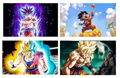 QG Art Ultra Dragon Son Goku Super Saiyan Anime Poster Wall Canvas Artwork for Bedroom Decoration 16 x 20 Inches,Set of 4 (Goku Super Saiyan Poster)