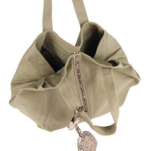 Moderne Damen ital-design Pailletten Tasche Canvas Handtasche Henkeltasche Schultertasche Freizeit, Sport, Reise