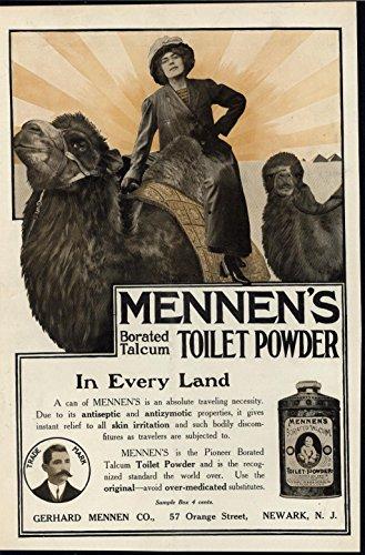 Borated Talcum Toilet Powder Camel Riding 1911 antique color advertising print