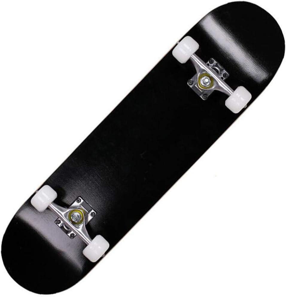コンプリートスケートボードデッキ大人子供ロングボードスケートボードメイプルつは、初心者や専門家のための木製の丸め (Color : 黒) 黒