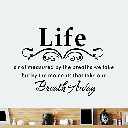 Life Is Not Measured By the Breaths We Take, but By the Moments That Take Our Breath Away-vinyl Wall Lettering Stickers Quotes and Sayings Home Art Decor Decal -