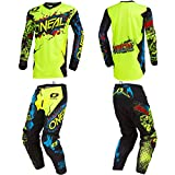 O'Neal Element Villain Neon Yellow Adult motocross MX off-road dirt bike Jersey Pants combo riding gear set (Pants W36/Jersey X-Large)