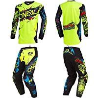 O'Neal Element Villain Neon Yellow Kids/Youth motocross MX off-road dirt bike Jersey Pants combo riding gear set (Pants 8/10 (24) / Jersey Kids Medium)