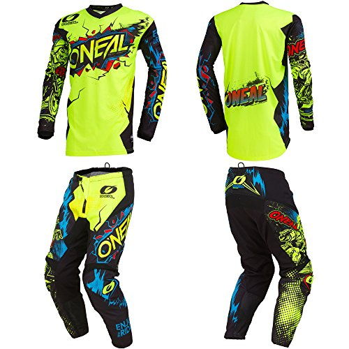 O'Neal Element Villain Neon Yellow Kids/Youth motocross MX off-road dirt bike Jersey Pants combo riding gear set (Pants 12/14 (26) / Jersey Kids Large) (Dirt Bike Jersey And Pants Youth)