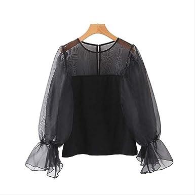 Blusa de Organza Negra Dulce para Mujer Camisa sólida de Manga Larga con Cuello en O Mujer Elegante básica Blusas Transparentes M Negro: Amazon.es: Ropa y accesorios