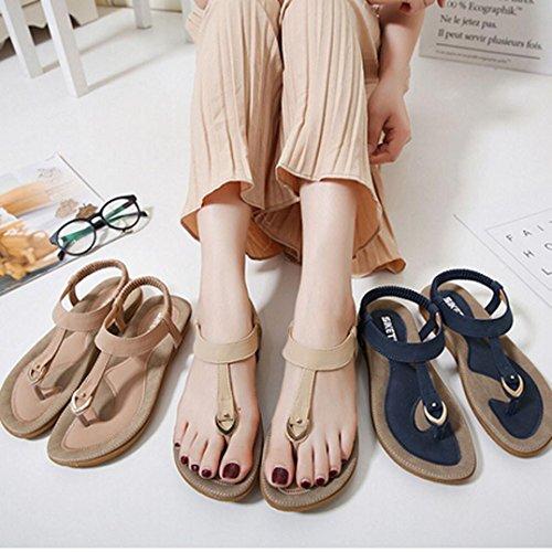 hunpta Women Bohe Fashion Flat Large Size Casual Sandals Beach Shoes Beige MocaoplGiX