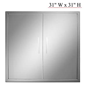 YXHARD Outdoor Kitchen Door, 304 Stainless Steel 31 Inch Double BBQ Access Door for Outdoor Summer Kitchen Grilling Station or Commercial BBQ Island