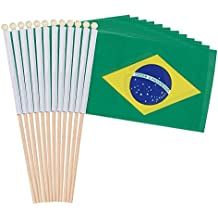 12-Piece Brazil Stick Flags - Brazilian Hand-held Flags, Polyester Country Stick Flag Banners, Decorations for Parties, Parades, Sports Events, and International Festivals- 12 x 8.3 Inches