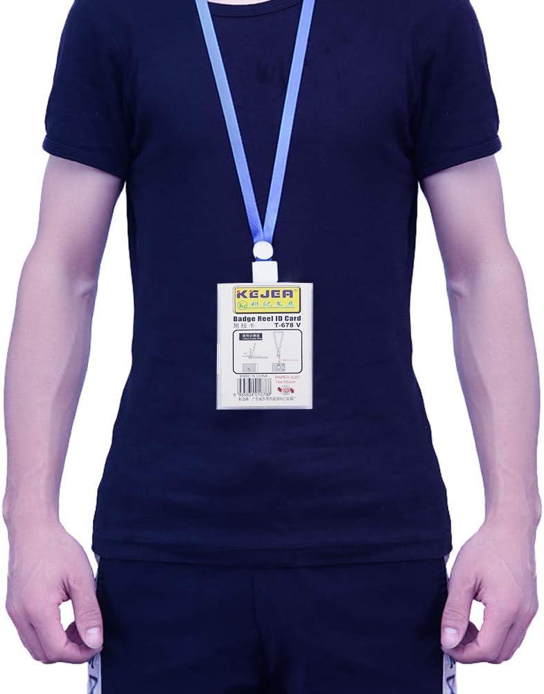 Level per lavoro impermeabile e trasparente uffici porta badge porta badge retrattile orizzontale studenti Confezione da 2 porta badge con cordino da collo fiere