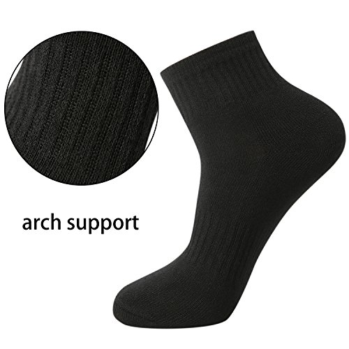 CelerSport Men's Running Athletic Cushion Arch Support Performance Ankle Socks 6 Pack Black by CS CELERSPORT (Image #2)