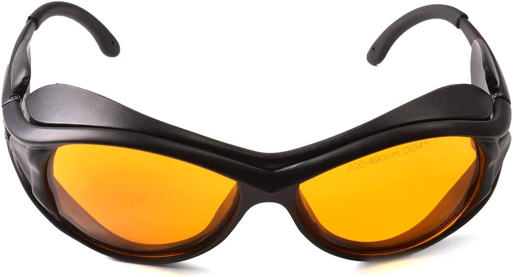 Professional OD 6+ 190nm-490nm Wavelength Violet/Blue Laser Safety Glasses for 405nm, 445nm, 450nm,473nm Laser (Black)