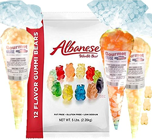Albanese Gummi Bears-Gummy Bear Bulk 12 Flavors-5lb Bag Plus (2) White Strawberry Banana (1) Energy Orange And White Strawberry Banana Gummy Bears Gourmet Kruise Gift Bags 11 OZ 4 Bags (2) Item Bundle