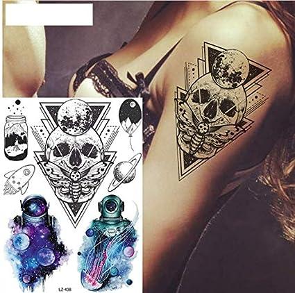 ruofengpuzi Adesivo tatuaggioCráneo Triangular Fantasma Polilla ...