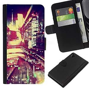 KingStore / Leather Etui en cuir / Sony Xperia Z2 D6502 / Reflexión Luces de la noche de la ciudad moderna