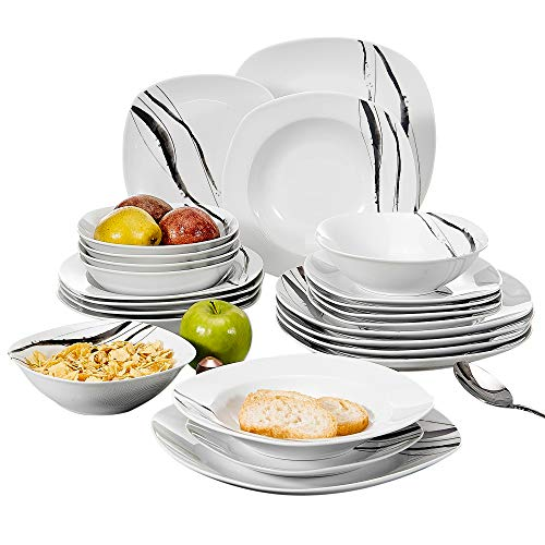 VEWEET 24-Piece Ceramic Dinner Plate Sets Line Patterns Square Plate Sets with Dinner Plate, Soup Plate, Dessert Plate, Bowl, Service for 6 (TERESA Series)