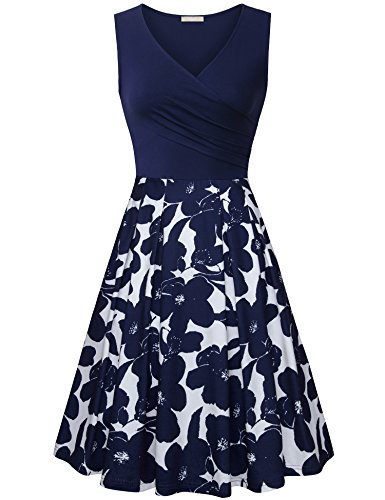 Empire Sundress - Furnex Midi Dresses, Ladies Sexy Dresses Breastfeeding Cocktail Dress Sleeveless Flared Plus Size Midi Dress Sundress for Women Casual Beach(Multicolor Blue,X-Large)