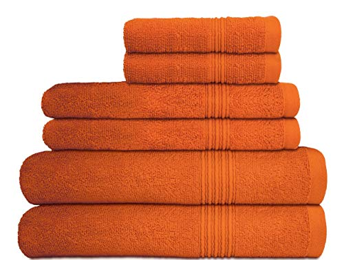 - Decor Hut 6 Piece Towel Set - 100% Cotton - 550 GSM - Premium Quality Luxury Towels, Ultra Soft - 2 Bath Towels, 2 Hand Towels, 2 Wash Clothes (Orange)