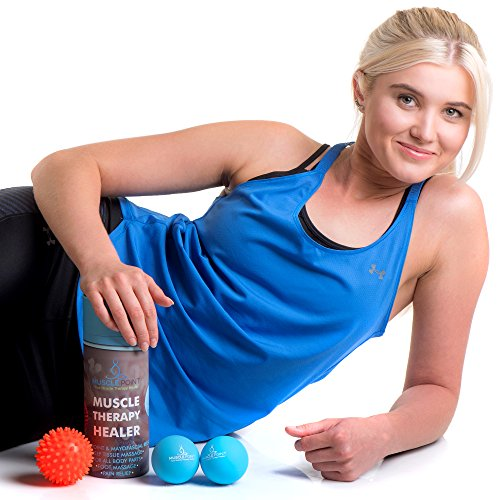 Muscle Point Massage Therapy Yoga Lacrosse Balls – By 2 Roller Balls For Deep Tissue Trigger Point and Myofascial Release – Includes BONUS Spiky Ball For Feet Massage and Mesh Carry Bag