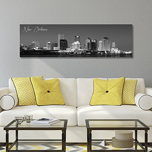 wallsthatspeak B&W Panoramic New Orleans 14x48 Wrapped Canvas Framed & Ready to Hang