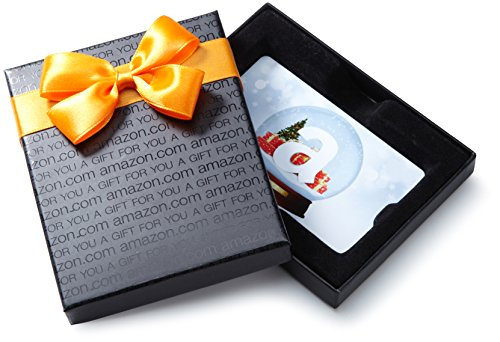 Amazon.com Gift Card in a Black Gift Box (Holiday Globe Card Design)]()