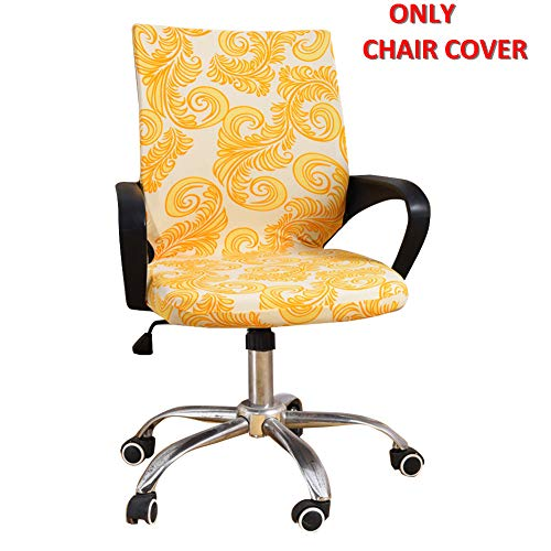 Deisy Dee Universal Computer Office Rotating Stretch Polyester Mid Back Function Chair Cover C111 (Yellow Totem)