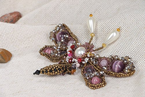 Handmade Designer Beaded Brooch With Natural Amethyst And Cat's Eye ()