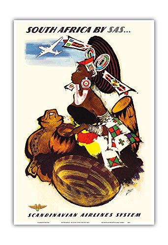 Pacifica Island Art South Africa - by SAS Scandinavian Airlines System - African Women Drummer - Vintage Airline Travel Poster by Otto Nielsen c.1952 - Master Art Print - 13in x 19in