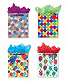 4 Large Party Gift Bags, Birthday Gift Bags - Set of 4 Happy Birthday Gift Bags w/Tags & Tissue Paper