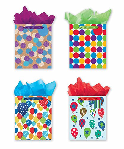 4 Large Party Gift Bags, Birthday Gift Bags - Set of 4 Happy Birthday Gift Bags w/Tags & Tissue Paper by B-THERE