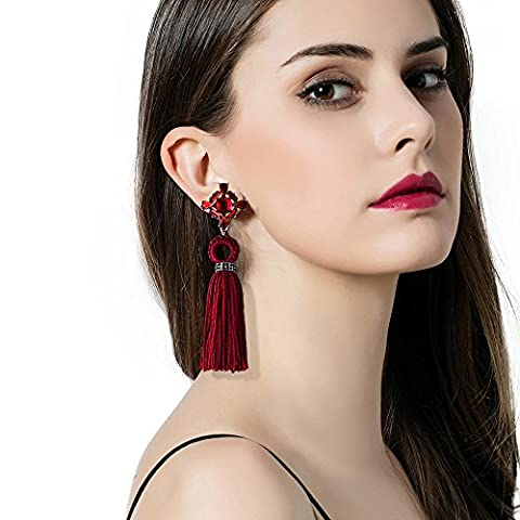 Iuhan Elegant Bohemian Style Long Thread Tassel Fringe Drop Dangling Earrings Ear Studs (Red) (Copper Wire 8g)