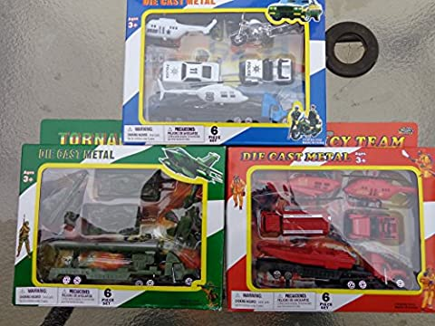 Die-cast Mixed Combo Play Set 3 Boxes Police/military/fire 1:64 Scale Metal 18 Toys 3 Packages Complete (Military Vehicles 1 18)