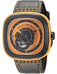 SEVENFRIDAY Mens P1-3 Kuka Robot Orange Analog Display Japanese Automatic Black Watch