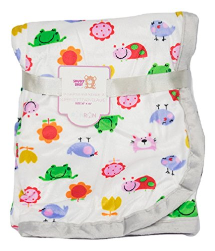 Deluxe Plush Blanket for Baby Boys and Baby Girls (Frogs and Birds) (Baby Security Frog Blanket)