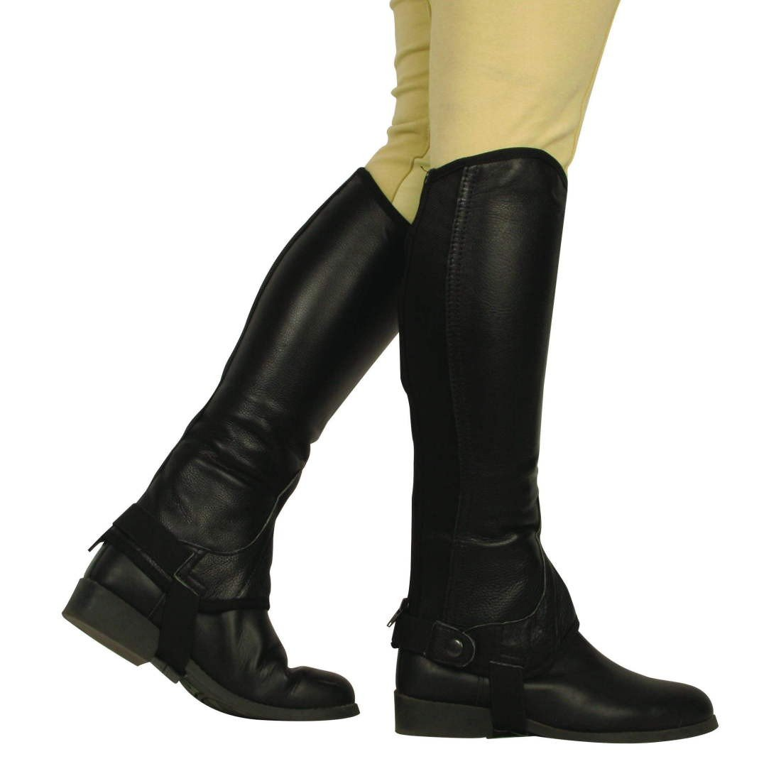 CY67F43L Women Black Riders Trend Equi Leather Synthetic Gaiters with Amara Lining Immediate Delivery