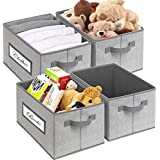 TomCare 4 Pack Storage Bins Storage Baskets Foldable Storage Cubes with Labels Fabric Storage Bins for Organizing Storage Organizers Bins with Handles Collapsible Container for Closet Shelves Grey