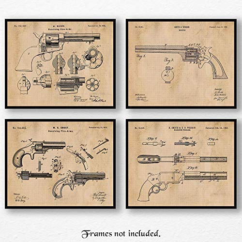 Original Smith & Wesson Pistols Revolver & Colt Peacemaker Gun Patent Art Poster Prints - Set of 4 (8x10) Unframed Pictures - Great Wall Art Decor Gifts Under $20 for Home,Office, Man Cave, Cowboys ()