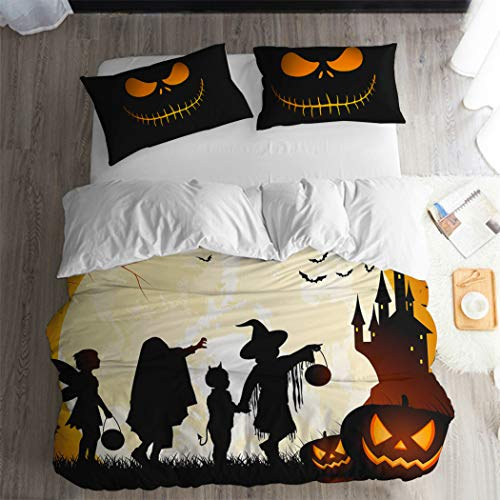 ARL HOME Nightmare Before Christmas Duvet Cover 3PC Queen Size Halloween Witch Castle Pumpkin Lantern Bedding Sets Halloween Skull Jack Pillowcases Cartoon Movie Anime Halloween Quilts Cover -