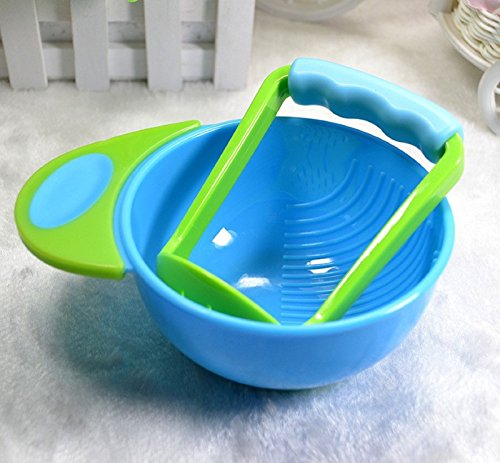 (5 Color) Baby Food Mill Make Bowl Toddle Fruit Food Mill Maker (Blue-green) by Polarbear's Shop