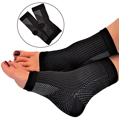 Plantar Fasciitis Socks for Women and Men by RiptGear - 1 Pair of Plantar Fasciitis Sleeves for Heel and Foot Pain - Plantar Fasciitis Compression Sock with Ankle Compression and Arch Support - Large by RiptGear
