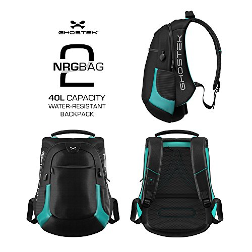 Laptop Backpack, Ghostek NRGbag 2 Series Slim Durable Smart Tech Bag With 3 USB Charging Ports School Multifunction Bookbag for College Travel Protection 16,000mAh Macbook iPad Tablets (Teal) by Ghostek (Image #2)
