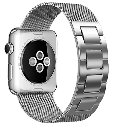 ands 38mm 42mm for Women Men,Solid Stainless Steel Cowboy Bracelet Style Replacement Strap for Apple Watch Series 3 Series 2 Series 1 (Milanese-Silver, 42MM) (Personalized Stainless Steel Watch)