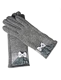 Ms Autumn And Winter Warm Gloves Cold Drive A Car Cycling Butterfly Touch Screen,1