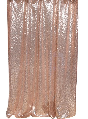 Langxun 4.3ft X 8.5ft Champagne Shimmer Sequin Fabric Photo Booth Backdrop Sequin Curtain | Shimmer Sequin Tablecloth ( Rose Gold - Las Show Vegas Fashion