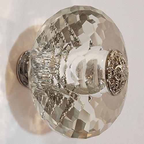 SET OF 4! 2 3/8 Inch Diameter Cut Crystal Oversized Cabinet or Furniture Knob (Polished Chrome (Polished Copper Designer Knobs)